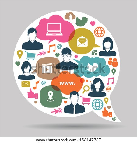 speech bubbles with social network icons - stock vector
