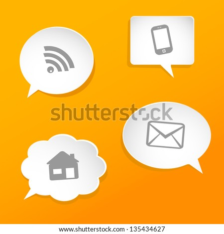 Speech bubbles with web symbols. - stock vector