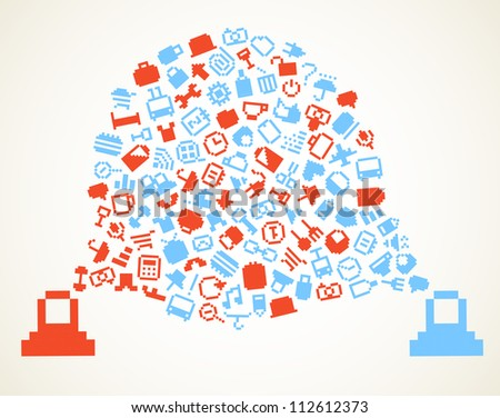 Speech cloud and account icons - stock vector