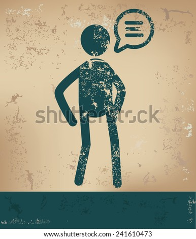 Speech concept,human resource design on old background,grunge vector - stock vector