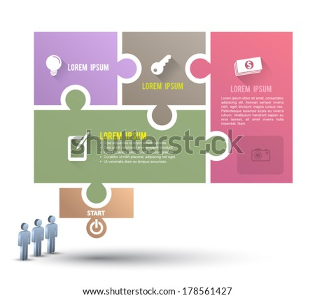 Speech jigsaw puzzle template with icons long shadows / can be used for infographics / numbered banners / horizontal cutout lines / graphic or website layout vector / business concept - stock vector