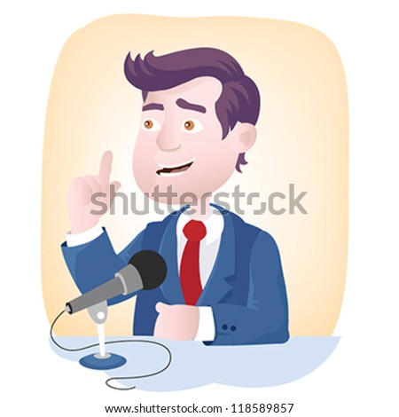 Speech microphone - gesture and facial expression of speaker - stock vector