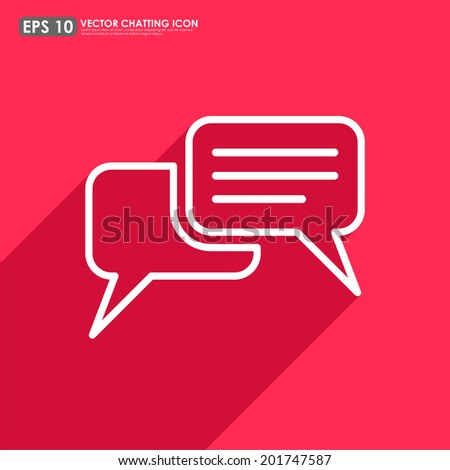 Speech or comment bubble on red background - vector icon - stock vector