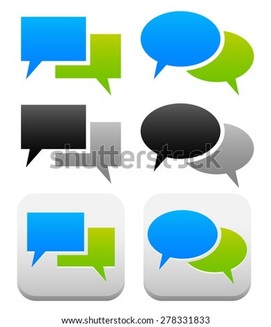 Speech, talk bubble symbols and buttons with 2 overlapping shape. Oval, rectangular versions - stock vector
