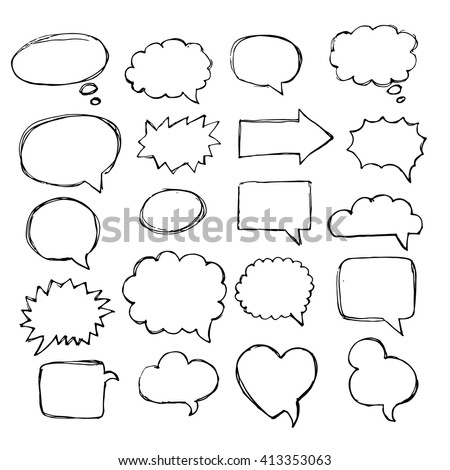 Speech, thought, speaking hand drawn bubbles set. Talk clouds sketching. Balloon shape. - stock vector