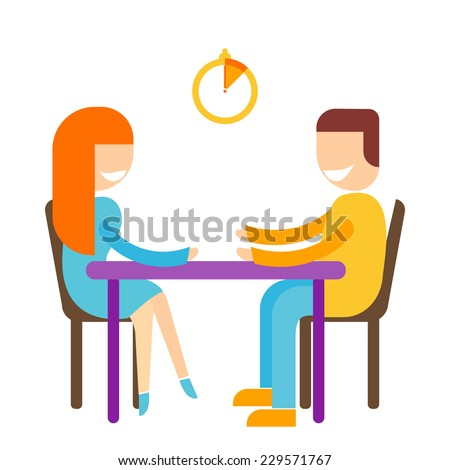 Speed dating illustration of man and woman sitting and chatting. Timer icon with highlighted  time limit. - stock vector