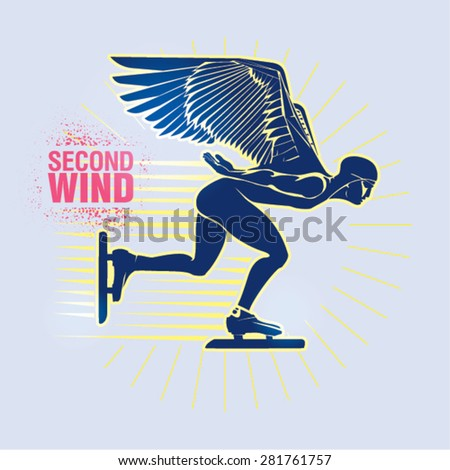 "Speed Ice Skating. Vector illustration created in topic ""Second wind ""  - stock vector"