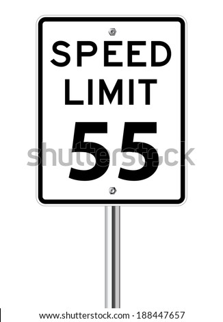 Speed limit 55 traffic sign on white - stock vector