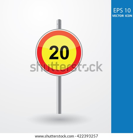 Speed Limits 20 kilometers per hour - stock vector