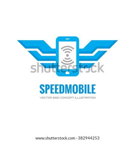 Speed mobile phone vector logo concept illustration. Smarthone vector logo creative illustration. Mobile technology logo. Cellpnone logo. Mobile phone logo design. Vector logo template. Mobile wings.  - stock vector