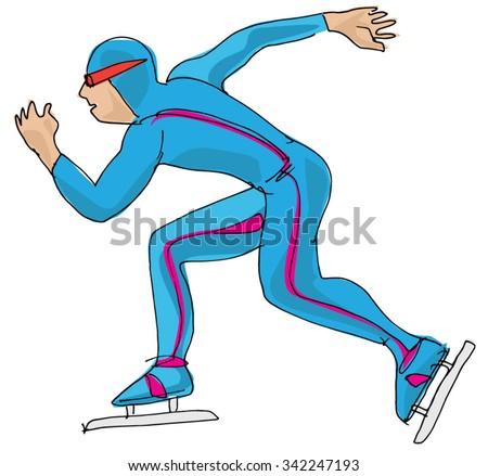 Speed skating - cartoon - stock vector