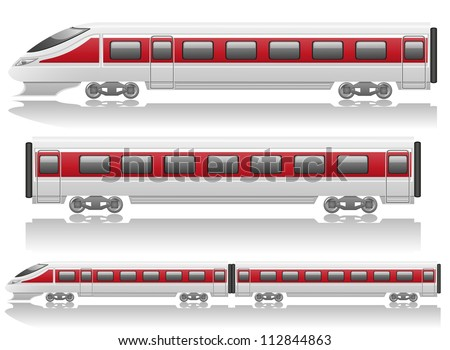 speed train locomotive and wagon vector illustration isolated on white background - stock vector
