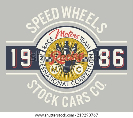 Speed wheels racing team - Vintage vector artwork for boy t shirt in custom colors - stock vector
