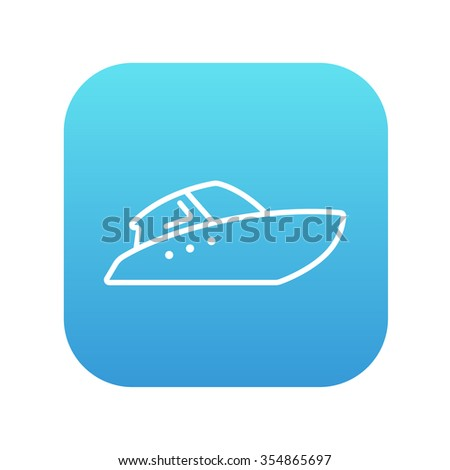 Speedboat line icon for web, mobile and infographics. Vector white icon on the blue gradient square with rounded corners isolated on white background. - stock vector