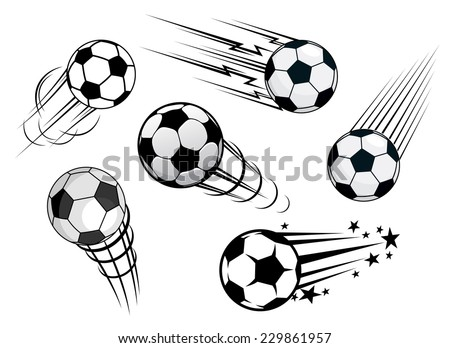Speeding footballs or soccer balls set in black and white with various motion trails, vector illustration - stock vector