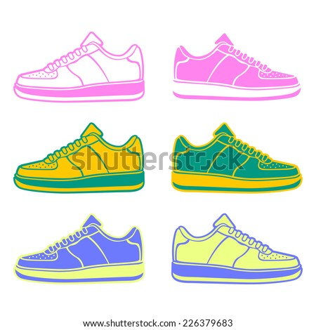 Speeding running shoe icons in four color variations vector logo  - stock vector