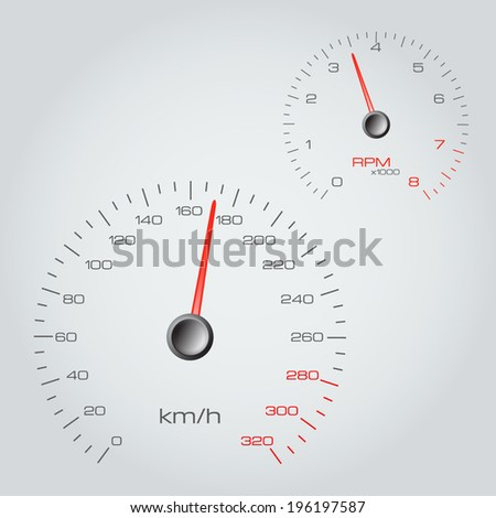 Speedometer and tachometer on gray background. Vector illustration. - stock vector