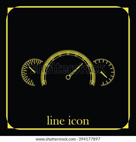 Speedometer flat icon. Tachometer illustration. - stock vector