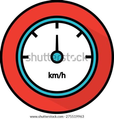 Speedometer flat icon: Vector - stock vector