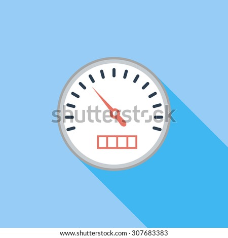 Speedometer icon. Flat vector related icon with long shadow for web and mobile applications. It can be used as - logo, pictogram, icon, infographic element. Vector Illustration. - stock vector