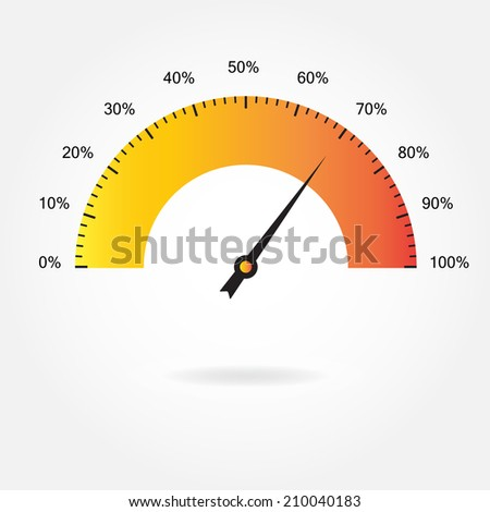 Speedometer icon or sign. Infographic element. Download percent meter. Vector illustration. - stock vector
