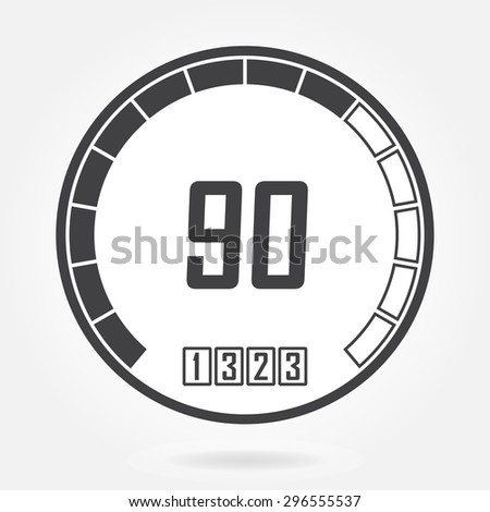 Speedometer icon or sign. Infographic gauge element. Vector symbol. Black tachometer isolated on white background.  - stock vector