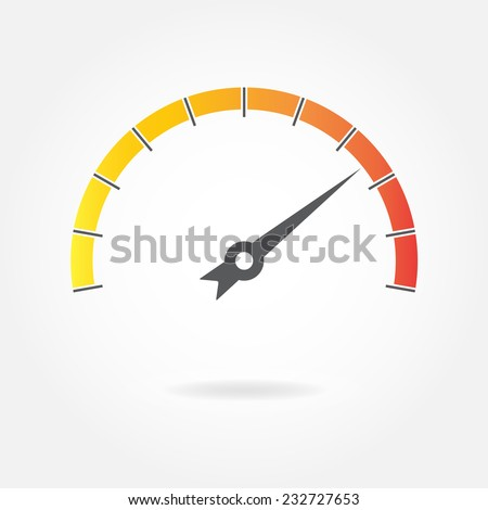 Speedometer icon or sign with arrow isolated on white background. Colorful infographic gauge element. Vector illustration.  - stock vector