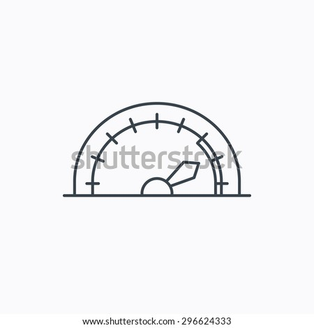 Speedometer icon. Speed tachometer with arrow sign. Linear outline icon on white background. Vector - stock vector