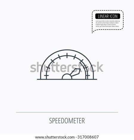 Speedometer icon. Speed tachometer with arrow sign. Linear outline icon. Speech bubble of dotted line. Vector - stock vector