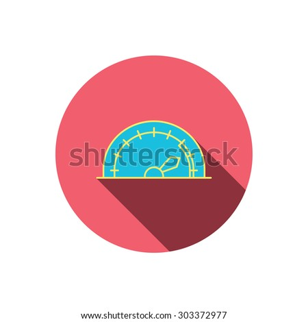 Speedometer icon. Speed tachometer with arrow sign. Red flat circle button. Linear icon with shadow. Vector - stock vector