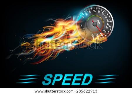Speedometer  in Fire on dark background. Vector illustration - stock vector