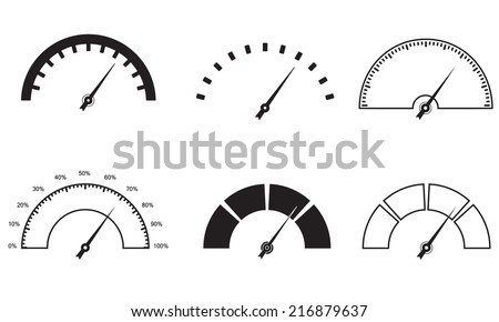 Speedometer or gauge icons set. Infographic and car instrument design elements. Vector illustration. - stock vector