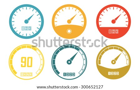 Speedometer or gauge icons set isolated on white background. Infographic and car instrument design elements. Colorful vector illustration.  - stock vector