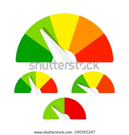 Speedometer or rating meter signs infographic gauge element. Vector. - stock vector