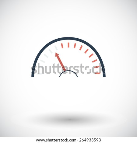 Speedometer. Single flat icon on white background. Vector illustration. - stock vector