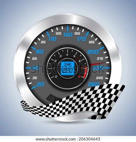 Speedometer with rev counter and checkered ribbon - stock vector