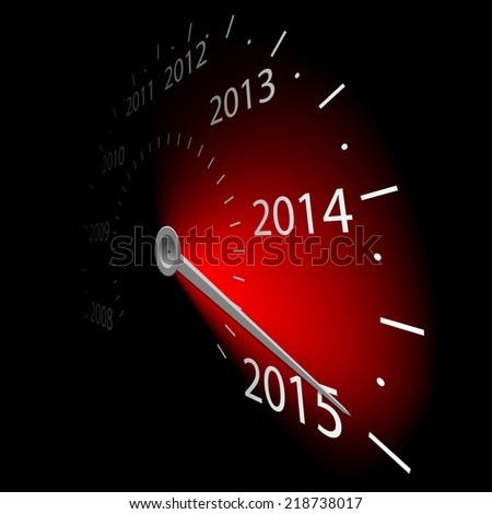Speedometer with the date 2015. Vector illustration. - stock vector