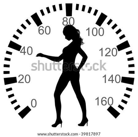 Speedometer with woman - stock vector