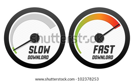 Speedometers with slow and fast download. Vector illustration. - stock vector