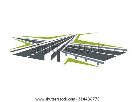 Speedy highway passes under modern overpass road abstract symbol isolated on white background for transportation or car trip design - stock vector