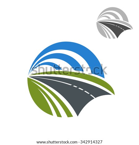 Speedy road icon with green roadsides disappearing to a vanishing point within a circle of blue sky, for travel or transportation themes design - stock vector