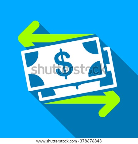 Spend Banknotes long shadow vector icon. Style is a flat light symbol with rounded angles on a blue square background. - stock vector