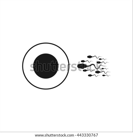 Sperm and Egg sign simple icon on background - stock vector