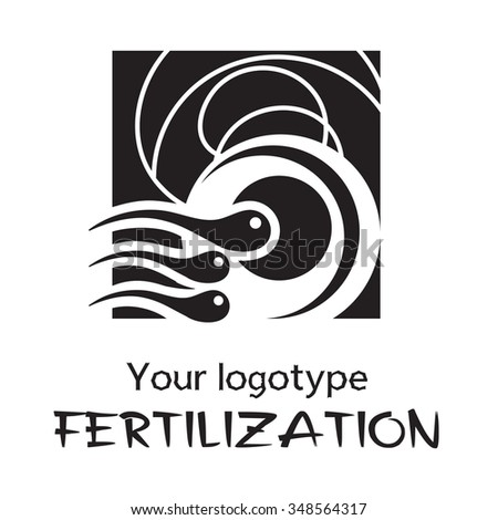 Sperm and Egg. Vector logo. Black and white icon. Stylized fertilization process. - stock vector