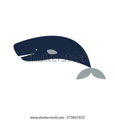 Sperm Whale isolated on white background. Vector flat illustration of Whale. - stock vector