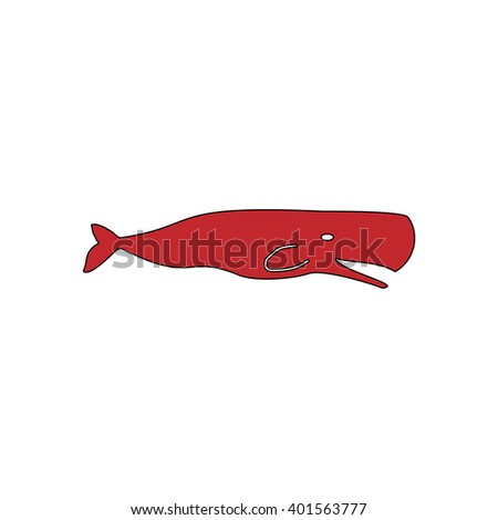 Sperm Whale. Red flat simple modern illustration icon with stroke. Collection concept vector pictogram for infographic project and logo - stock vector