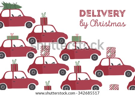 Spesial christmas delivery vector Illustration. Small red car with gifts and christmas tree on the top. - stock vector