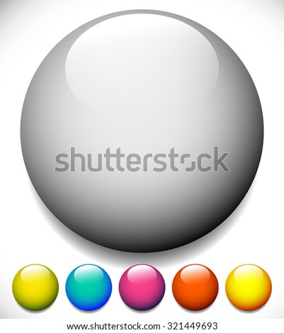 Sphere, circle buttons with blank space and glossy effect - stock vector
