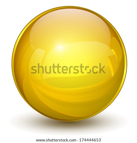 Sphere 3D, glossy gold, yellow vector ball - stock vector