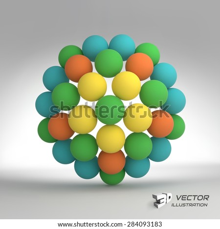 Sphere. 3d vector template. Abstract illustration. Can be used for presentations and design. - stock vector